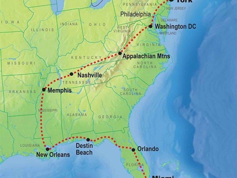139Y10057 Von New York nach Miami Karte