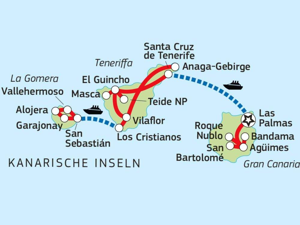 Wanderreise Kanaren - Gran Canaria, Teneriffa & La Gomera Karte