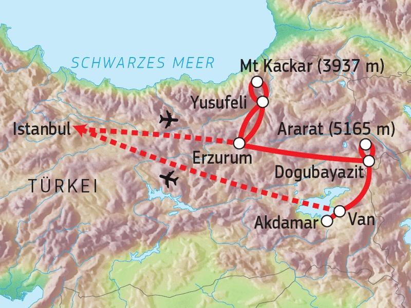 125T10011 Mt. Kackar & Ararat Trekking Karte