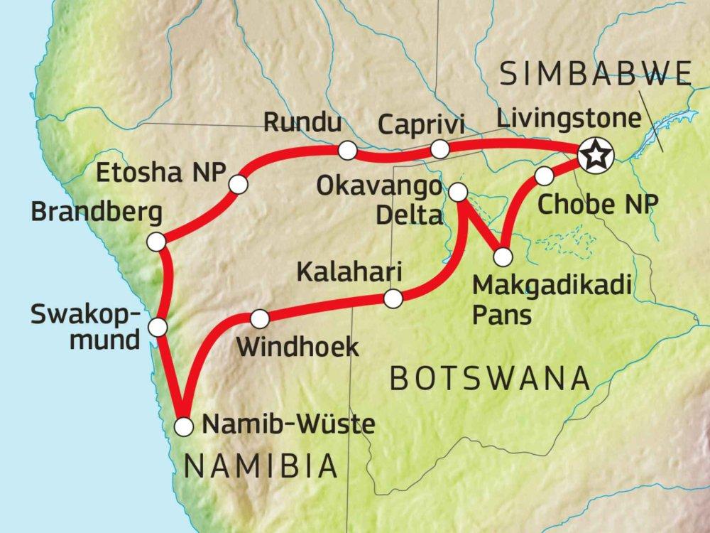 126Y10023 Namibia & Botswana Komfort-Safari Karte