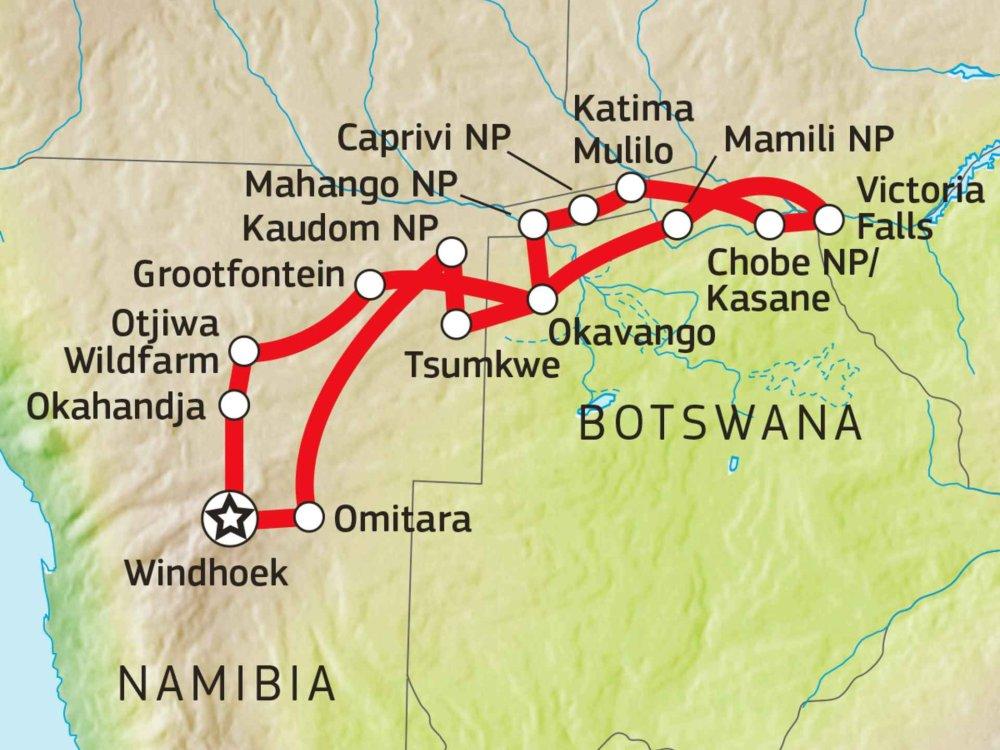 155Y31002 Buschmannland, Kaudom & Caprivi Karte