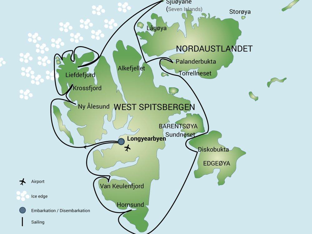 Rundum Spitzbergen mit dem Schiff Karte