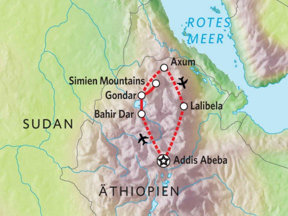 193Y10002 Historisches Äthiopien & Simien NP Karte