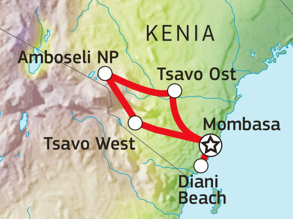 Tsavo Amboseli Safari Karte