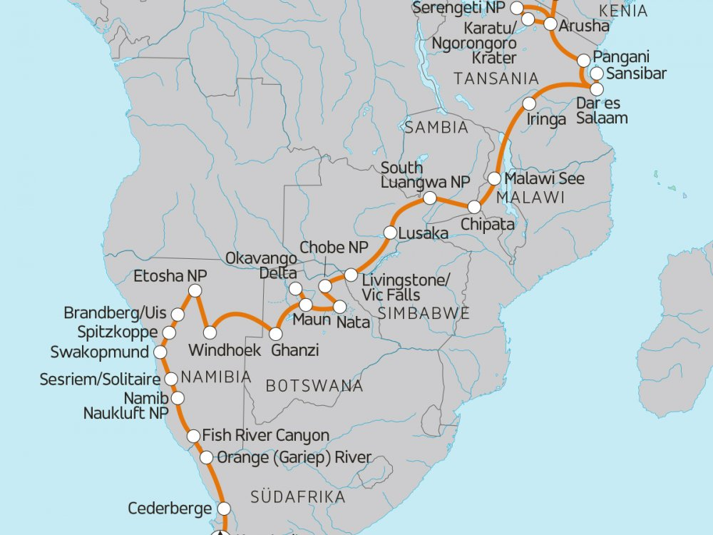 Vielfältiges Afrika - Von Südafrika nach Kenia Karte