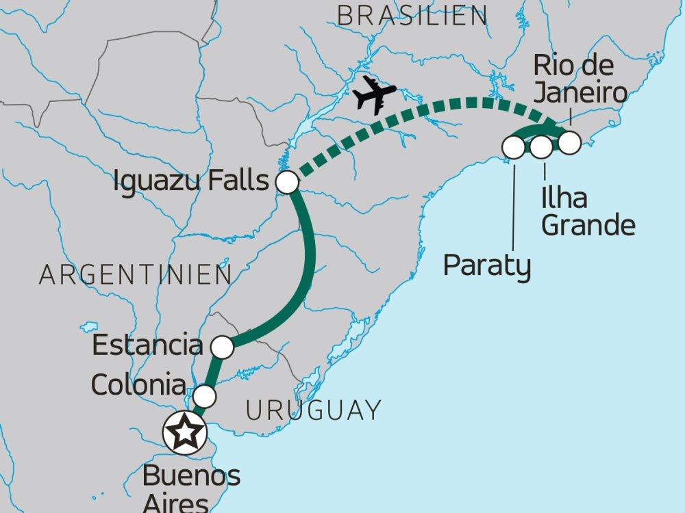 Entdeckerreise von Buenos Aires nach Rio de Janeiro Karte