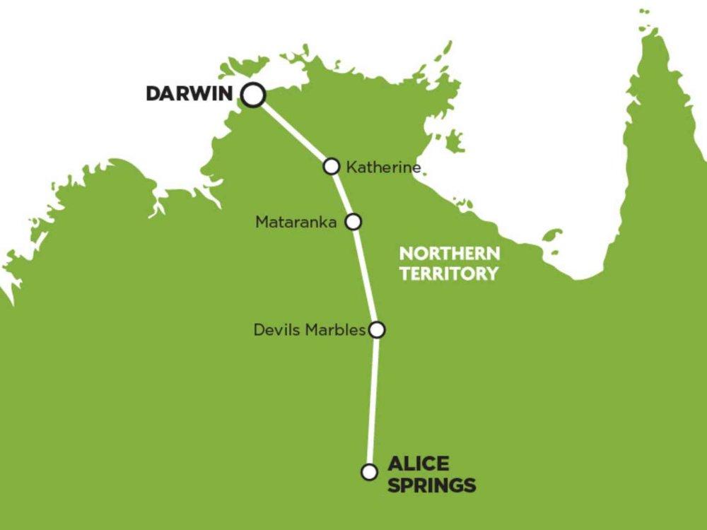 102A10061 Darwin - Alice Springs Express Karte