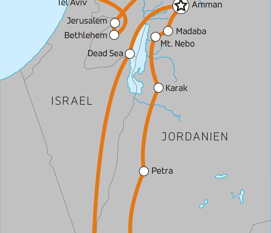 Erlebnisreise durch Jordanien und Israel Karte
