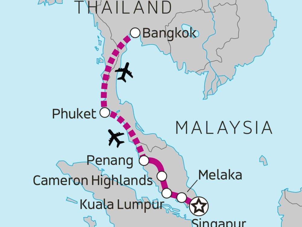 135Y10272 Von Singapur nach Bangkok Karte