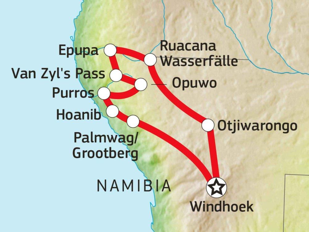 155Y31015 Spezialtour: Kaokoveld & van Zyls Pass Expedition Karte