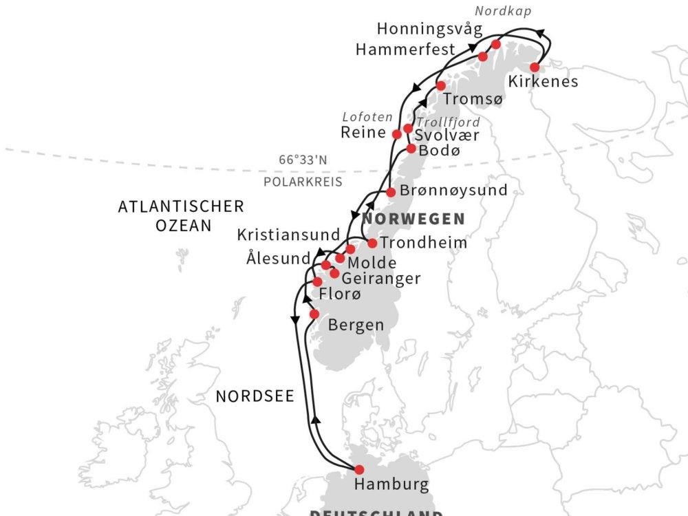 113H20001 Postschiffroute an Bord der MS Roald Amundsen Karte