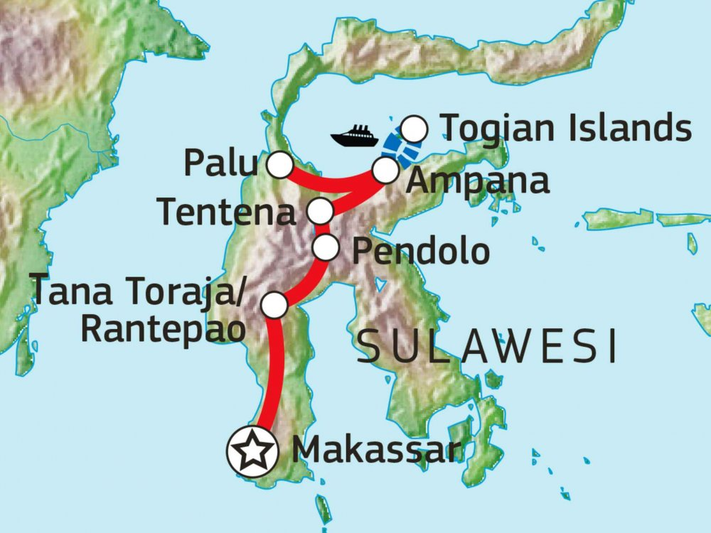 124Y21004 Süd- & Zentralsulawesi mit Togian Islands Karte