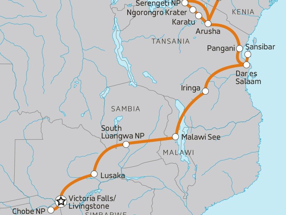 Camping Abenteuer von Botswana nach Tansania Karte