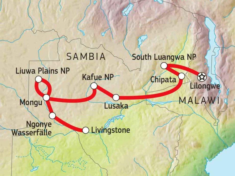 107B10010 Sambia von Ost nach West Karte