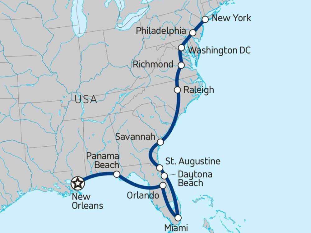 174Y10063 Ostküste der USA - Von New York bis New Orleans Karte