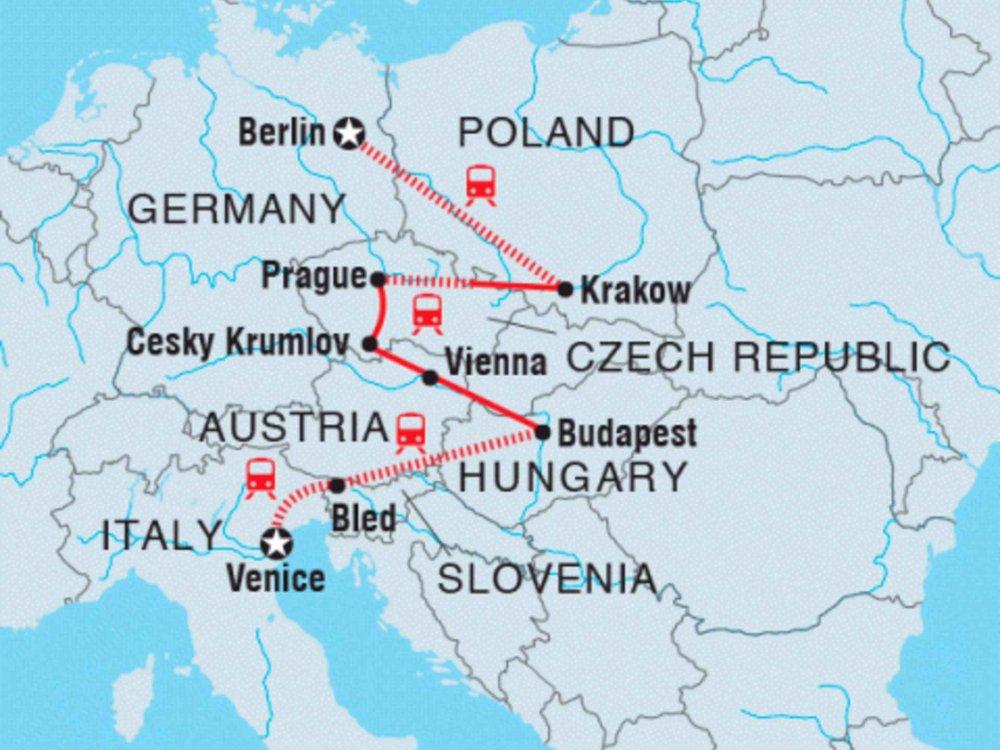 122Y40239 Roadtrip von Berlin nach Venedig Karte