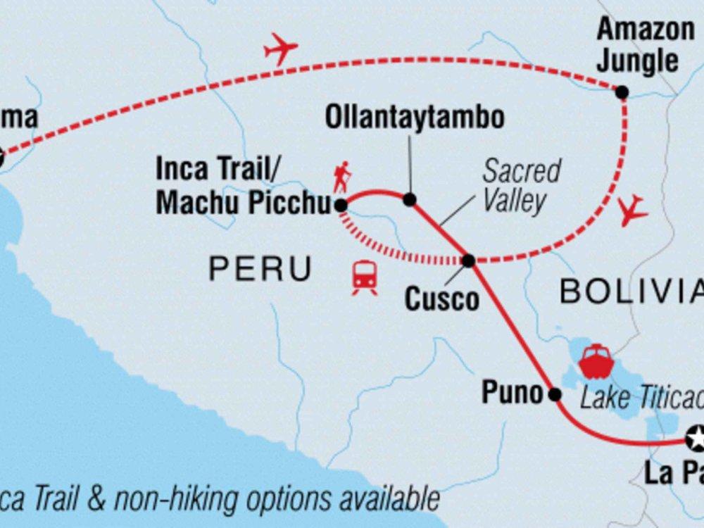 131Y21134 Erlebe Peru - Amazonas, Inka Trail & Titicacasee Karte