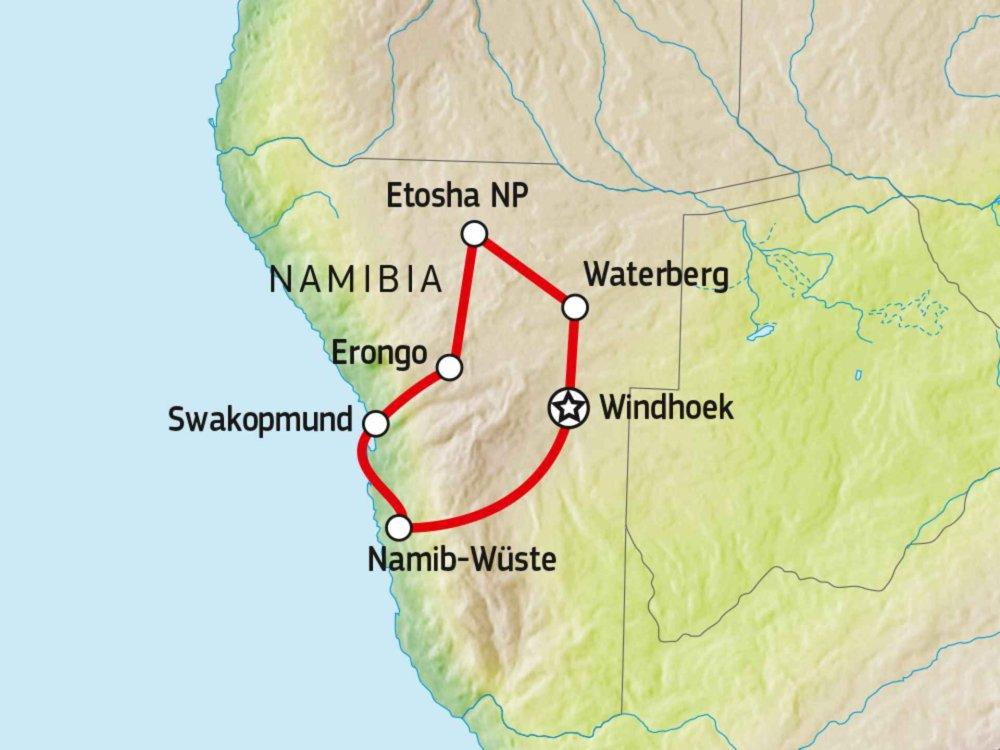 156T00004 Familienabenteuer Namibia Karte