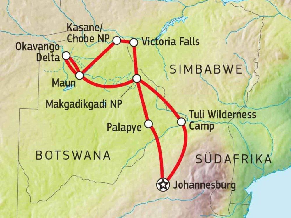 184Y10001 Botswana Abenteuerreise Karte