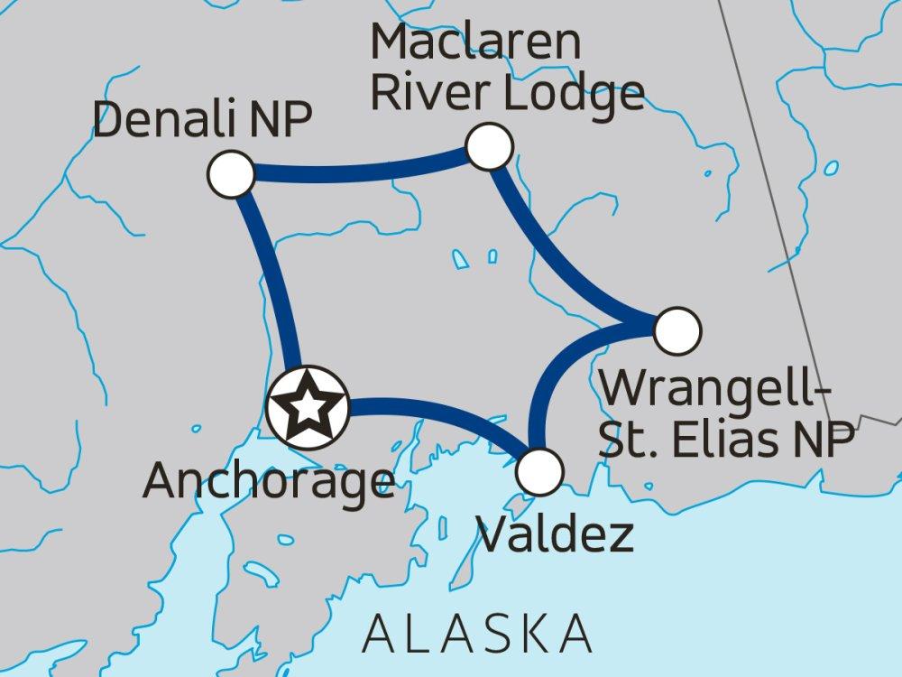 Alaska Camping Abenteuer Karte