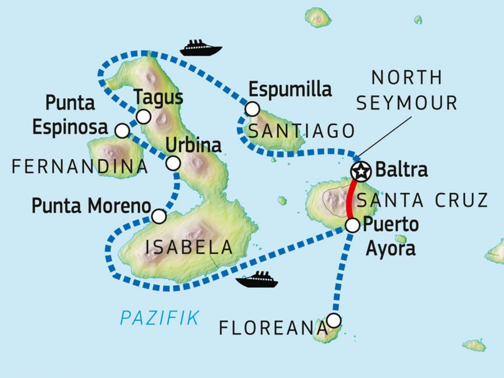 198Y30022 Galapagos Kreuzfahrt unter Segeln mit der S/S Mary Anne Karte
