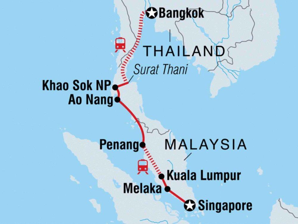 131Y21102 Discover Bangkok to Singapore Karte