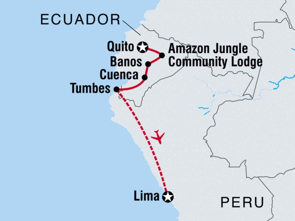 122Y60448 Von Ecuador nach Peru Karte
