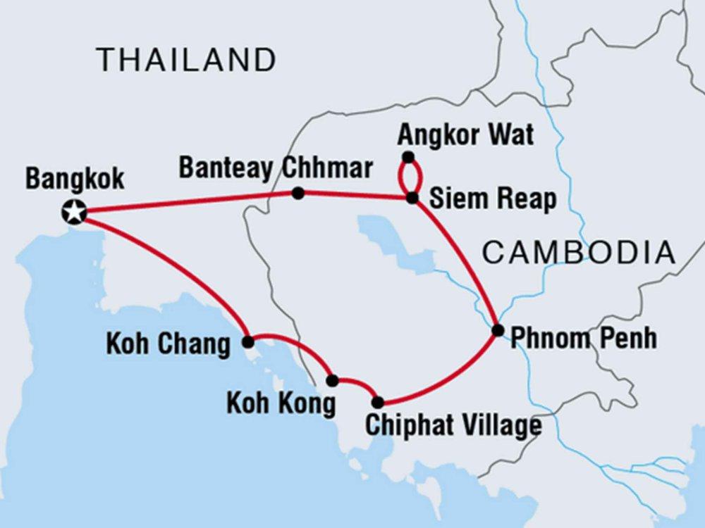 122Y40208 Kambodscha - Tempel und Strände Karte