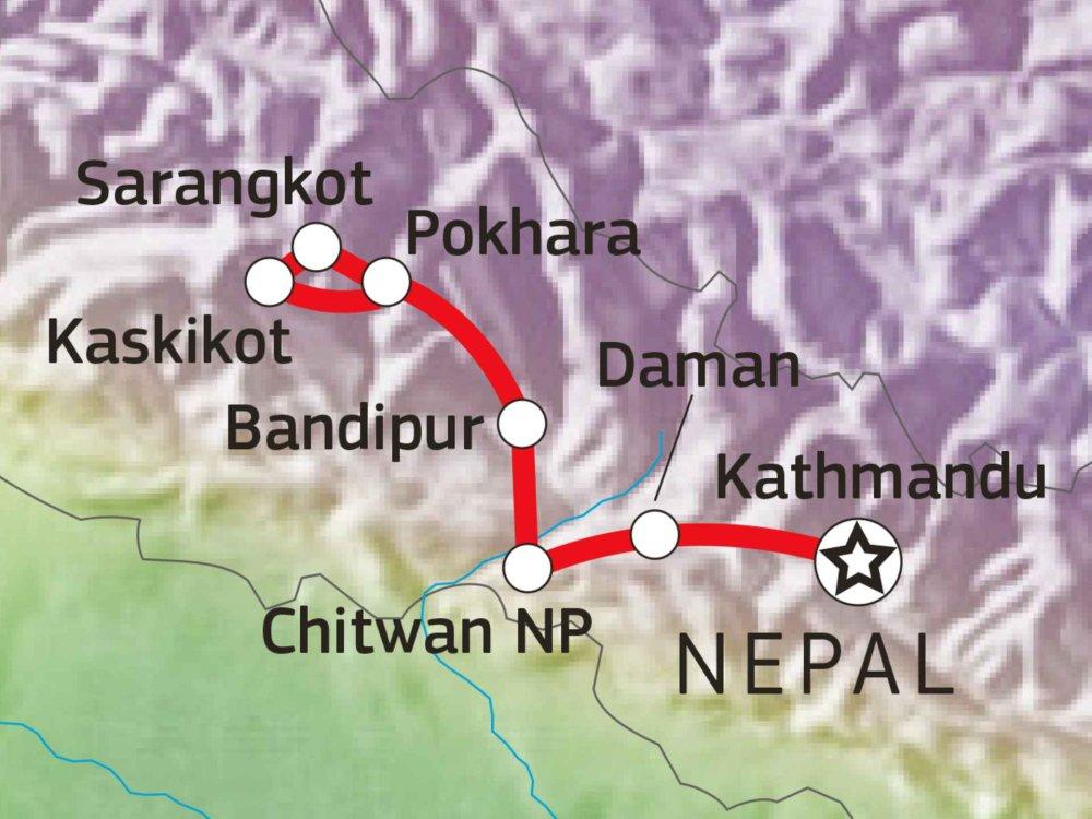 161Y30035 Nepal Panorama - Daman, Chitwan & Pokhara Karte