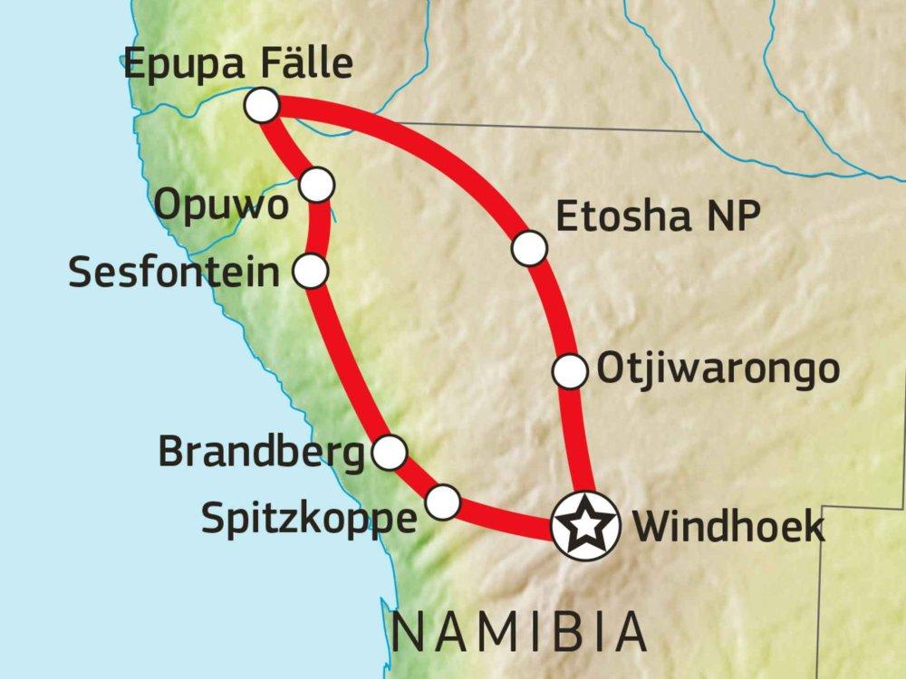 155Y31003 Kaokoveld, Damaraland & Etoscha Nationalpark Karte