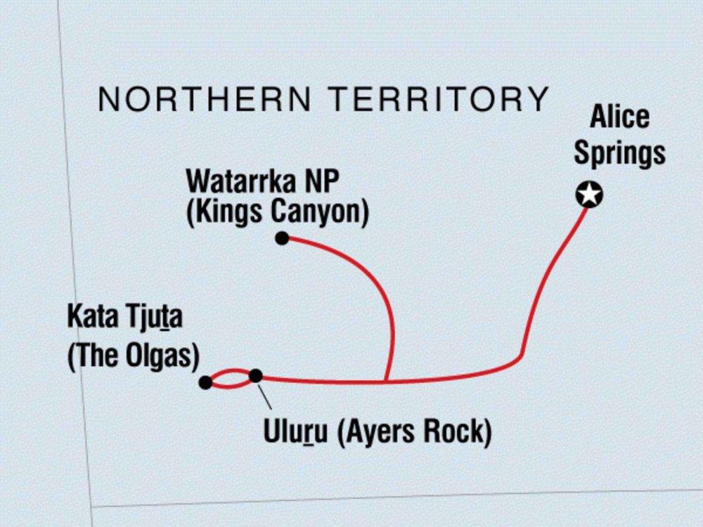 104E20004 Wüste erleben - Ayers Rock & Kings Canyon Karte