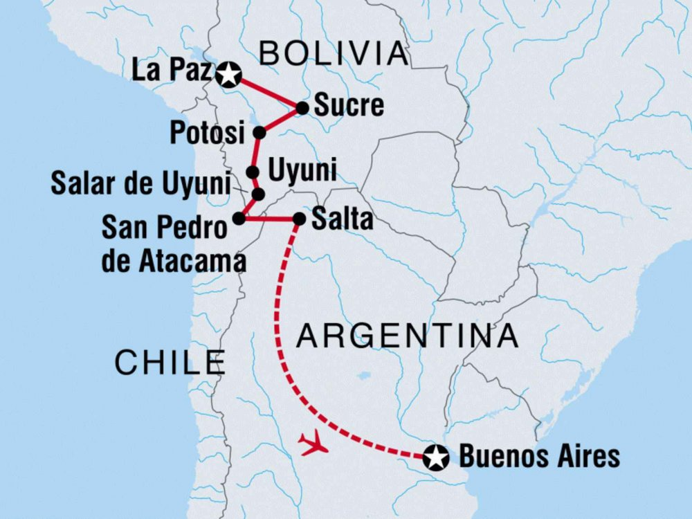 122Y60422 Bolivien & Argentinien entdecken Karte