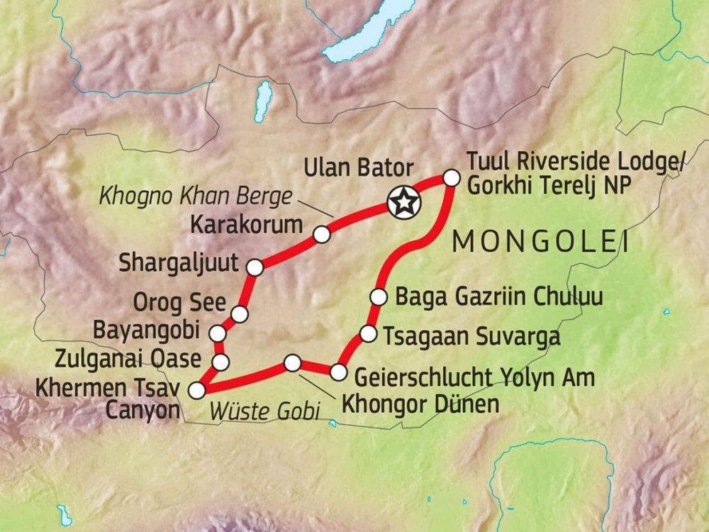 Durch die Zentralmongolei & Wüste Gobi Karte