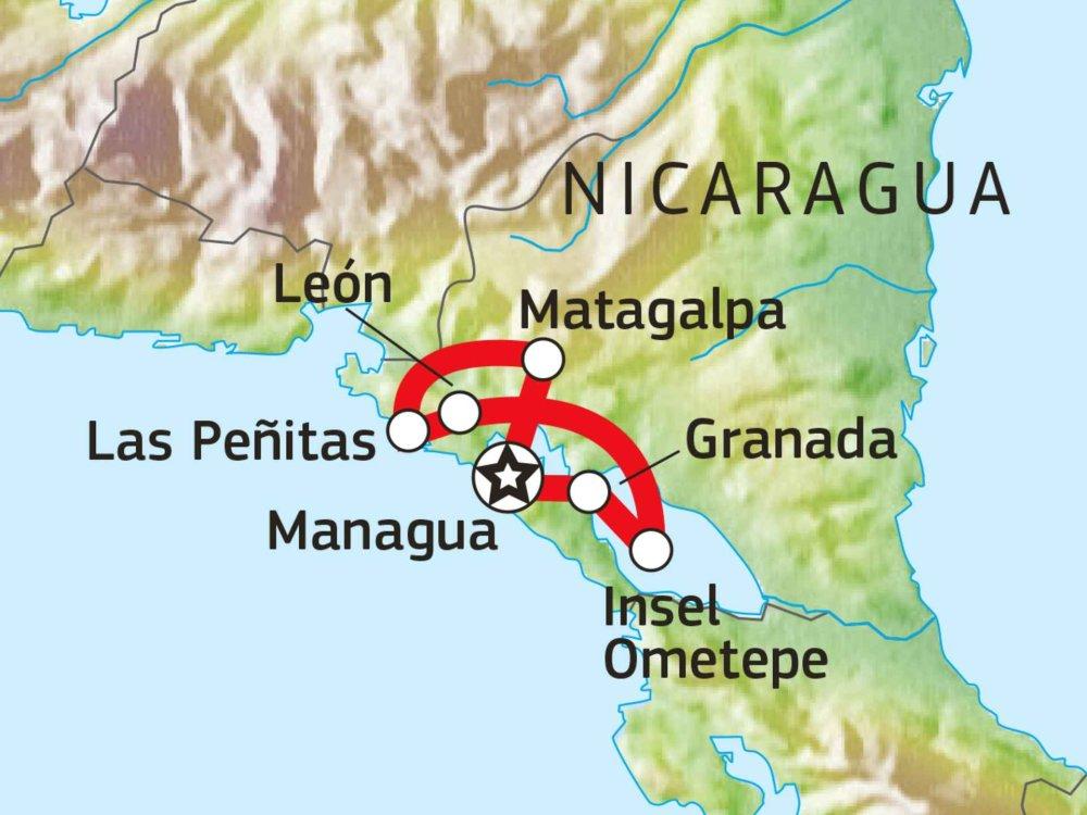 198Y31008 Nicaraguas Höhepunkte Karte