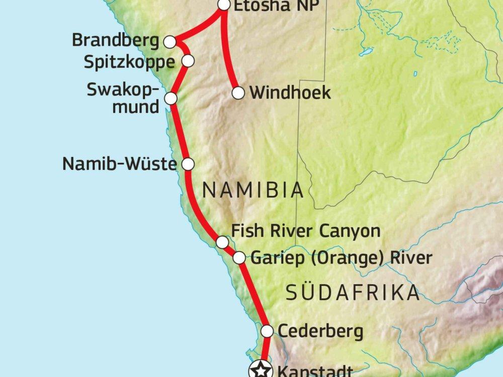 126Y10014 Campingsafari von Kapstadt nach Namibia Karte