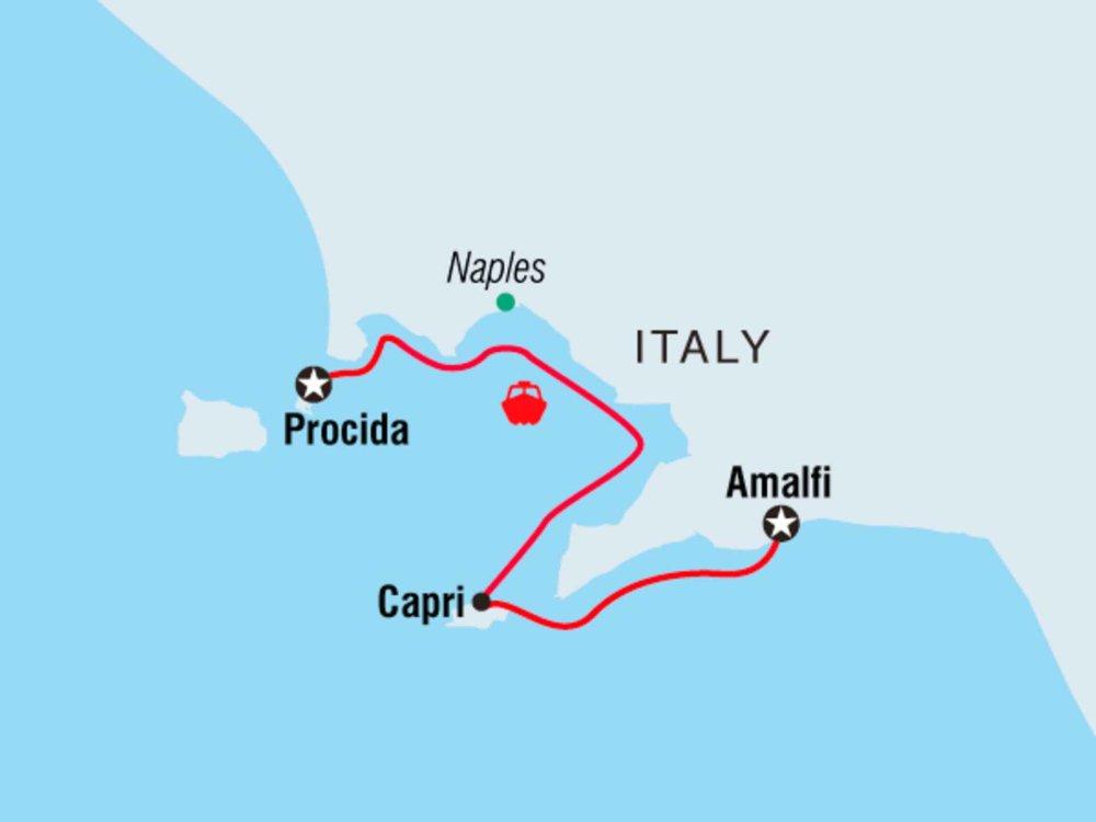 Segeln vor der italienischen Amalfiküste Karte