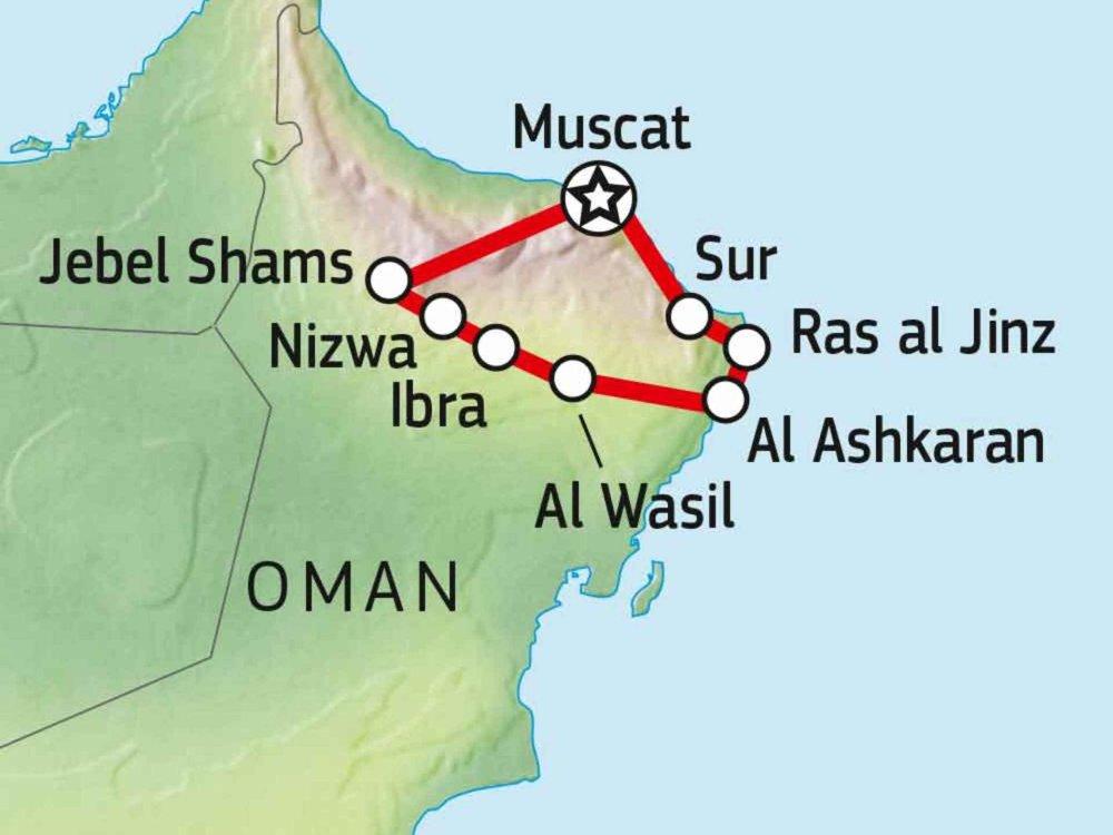163Y20010 Oman Mietwagenreise Karte