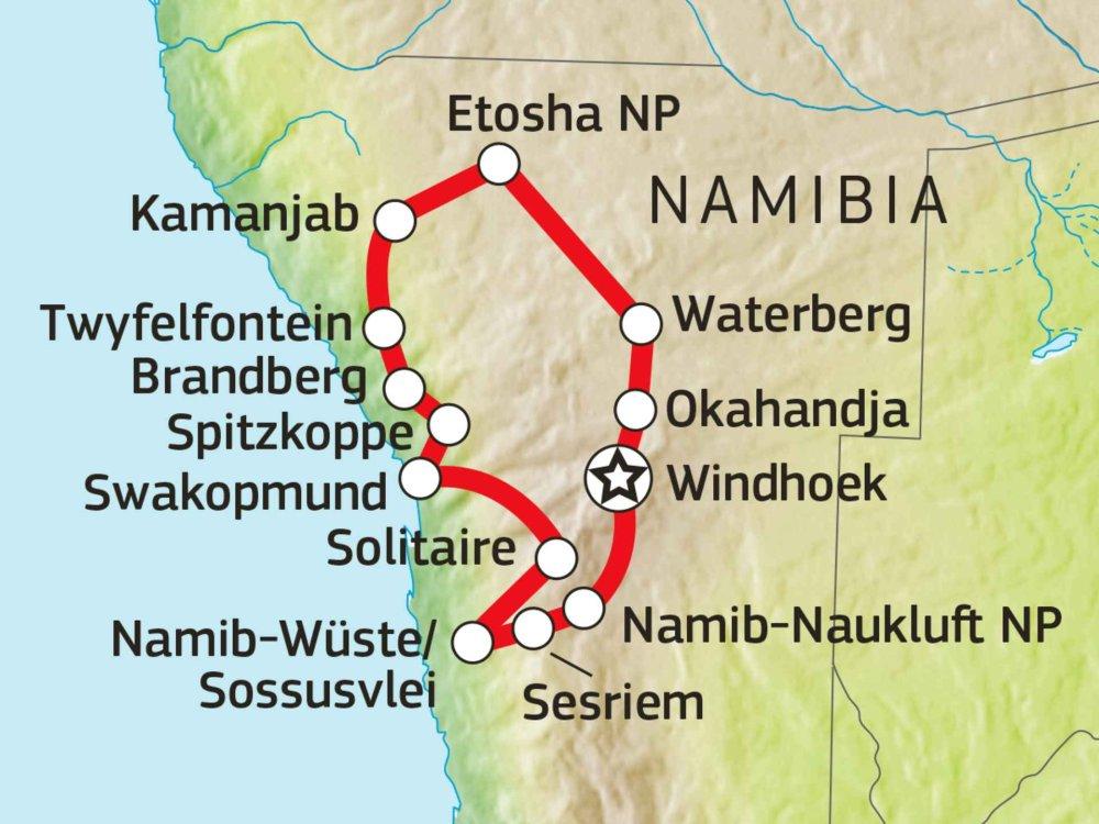 155Y31008 Namibia Gästefarm Safari Karte