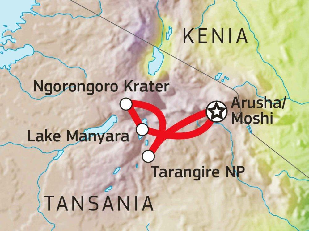 140S11001 Tansania Lodge Safari I Karte