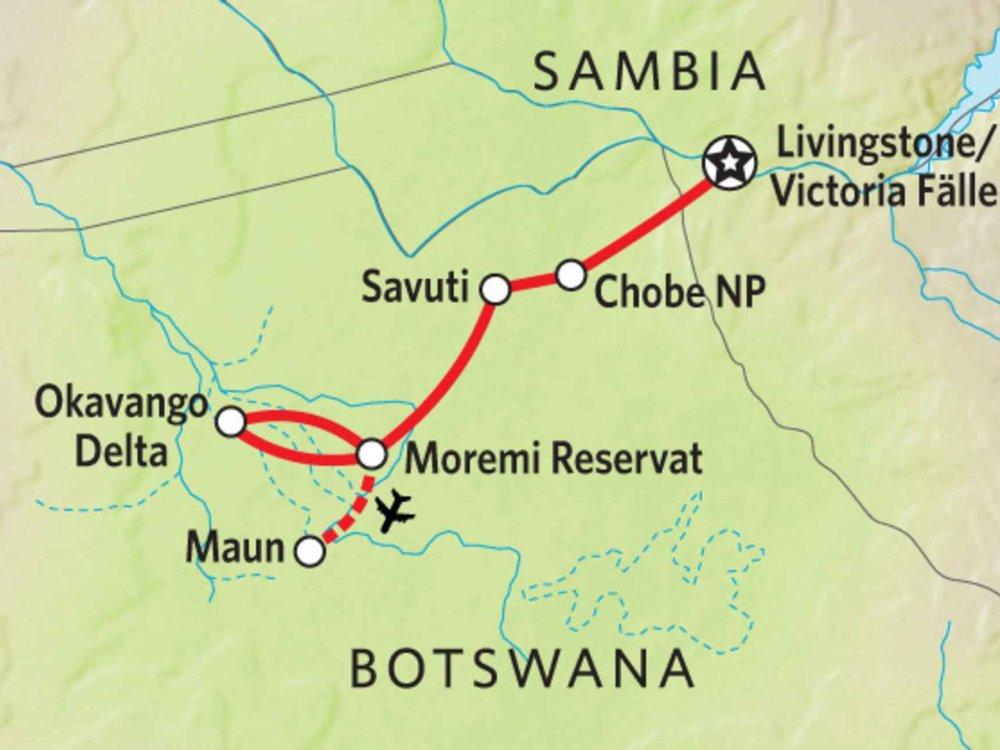 166Y10007 Naturwunder Botswanas Karte