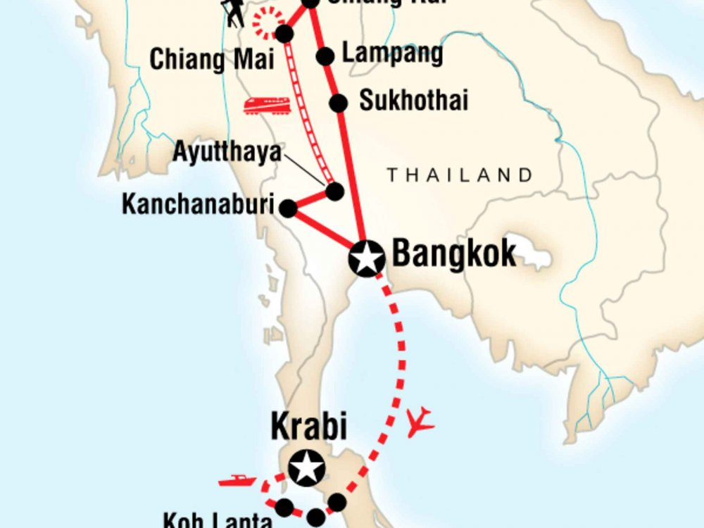 130Y20250 Ultimative Thailand Erlebnisreise Karte