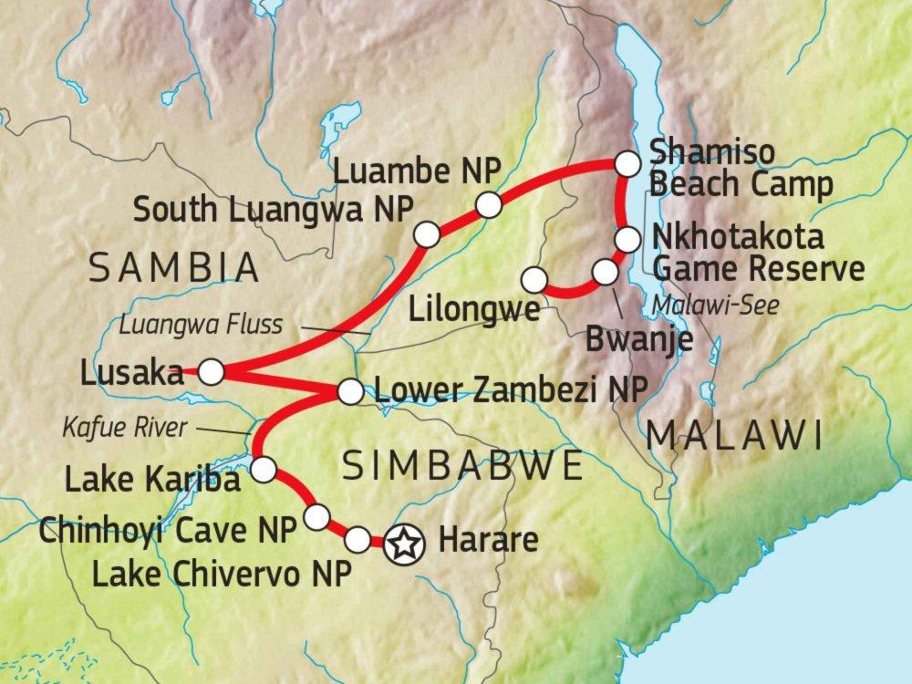 107A20040 Campingsafari Simbabwe, Sambia & Malawi Karte