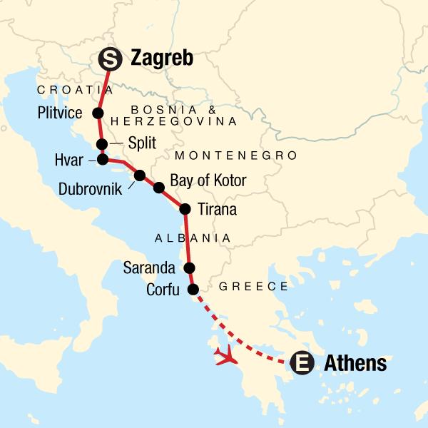 Erlebnisreise Kroatien Griechenland Karte