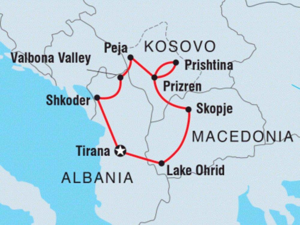 122Y40246 Entdecke das Kosovo, Albanien & Mazedonien Karte
