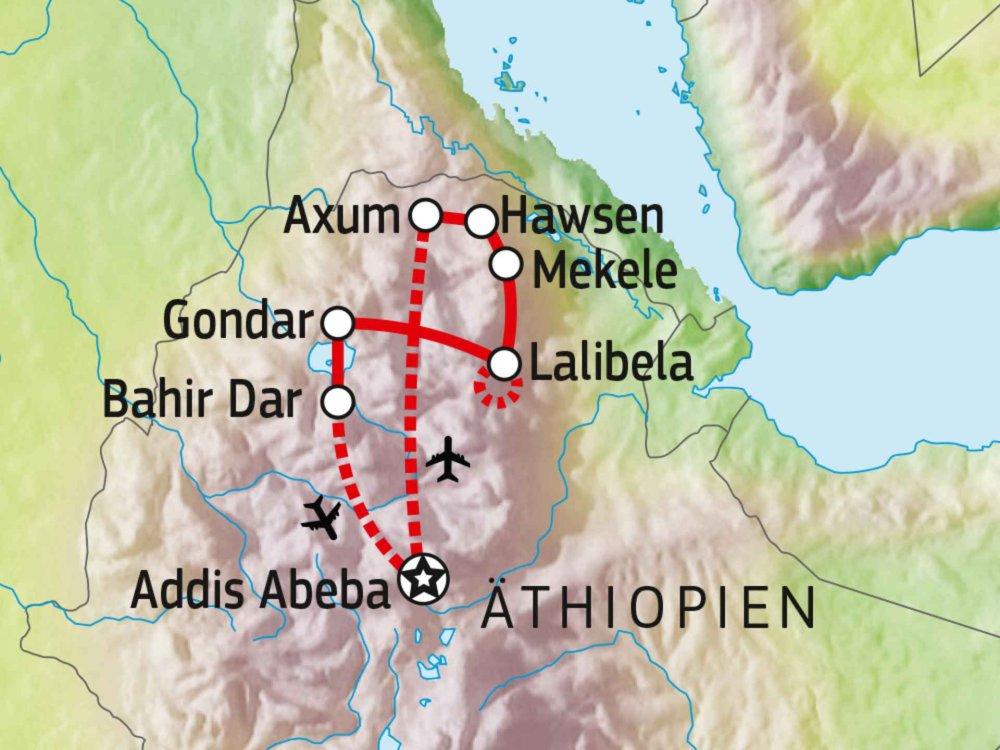 192A20002 Historisches Äthiopien & Trekking Karte