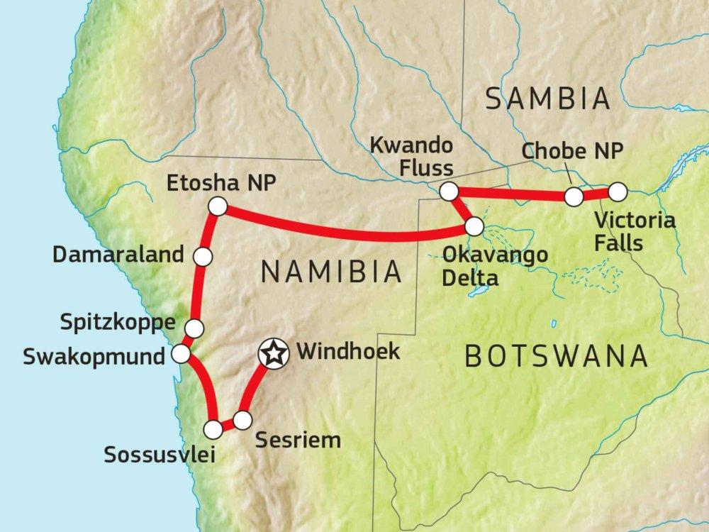 184Y10002 Wüste, Wasserfälle & Wildnis Karte