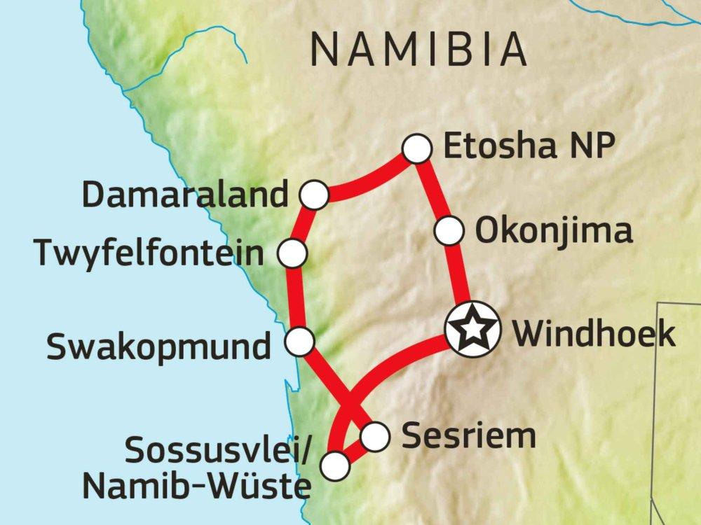 106Y21007 Namibia Explorer Safari Karte