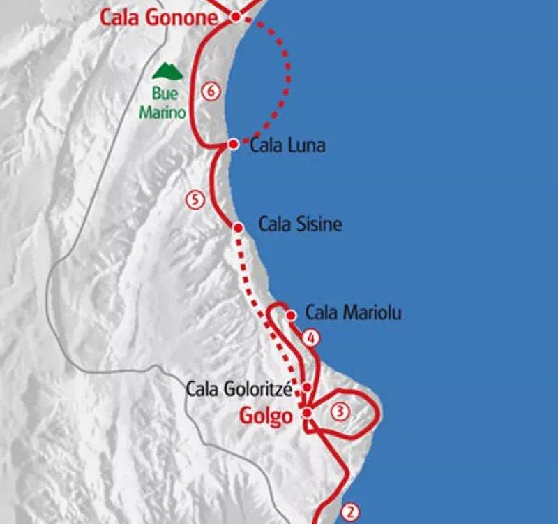 Karte Sardinien Ostküste Wanderreise