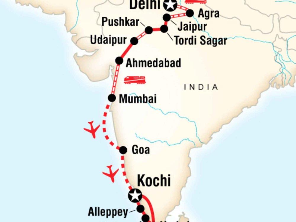 130Y40021 Discover Indien - Von Delhi nach Kochi Karte