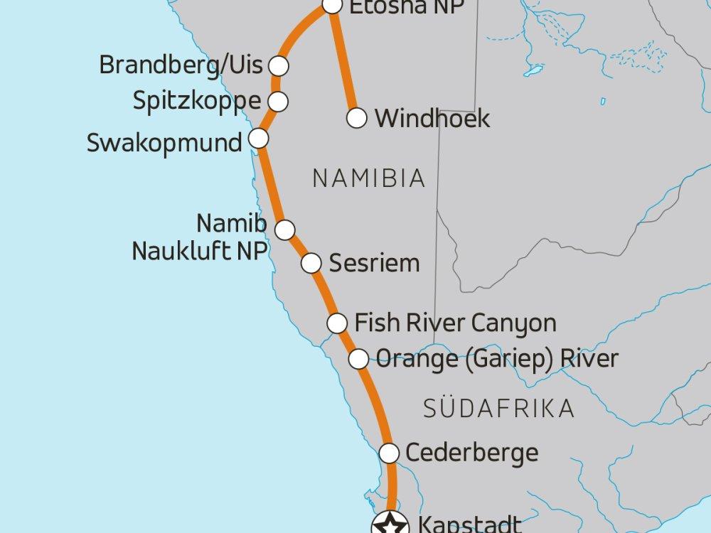 Erlebnis Namibia - Von Kapstadt nach Windhoek Karte